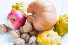 坚果、南瓜、南瓜和苹果的维生素汇集 库存图片