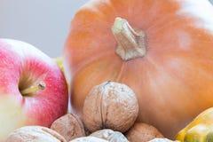 坚果、南瓜、南瓜和苹果的维生素汇集 免版税库存照片