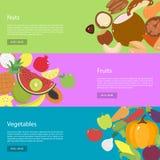 坚果、水果和蔬菜的模板设计水平的网横幅 免版税库存图片