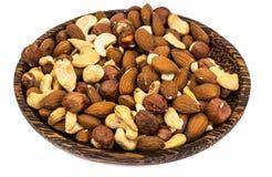 坚果、腰果、杏仁和榛子混合物  免版税库存图片