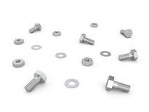 坚果、螺丝和螺栓, 3D 免版税库存图片