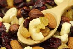 坚果和果子混合物在匙子 图库摄影