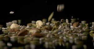 坚果和种子素食健康食物快餐 股票录像