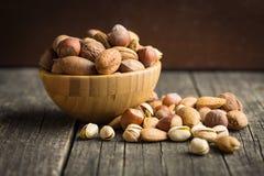 坚果的不同的类型在坚果壳的 图库摄影