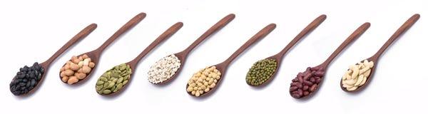 坚果,在木匙子的种子的汇集 免版税库存图片