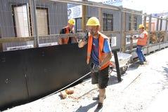 坚硬工作的波兰工作者 库存照片