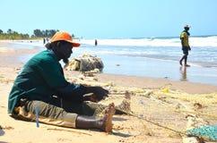坚硬工作的渔夫人 免版税库存图片