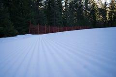 坚硬滑雪轨道清早 免版税库存图片