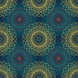 坛场无缝的古老几何样式 花线艺术的金黄圆的装饰品装饰与风格化查克拉标志的为 库存例证