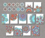 坛场模板 一套与装饰品的简单的样式 向量例证