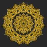 坛场 印地安antistress大奖章 抽象伊斯兰教的花,阿拉伯无刺指甲花设计,瑜伽标志 库存图片