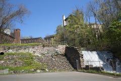水坝和石墙废墟,洛克维尔,康涅狄格 库存照片