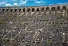 水坝山湖Schwarzenbachtalsperre的墙壁 免版税库存图片
