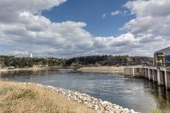 水坝希腊与氢结合的ladonas湖 免版税图库摄影