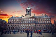水坝正方形的王宫,阿姆斯特丹 库存照片