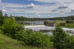 水坝 德聂伯级水力发电河岗位乌克兰zaporozhye 免版税库存照片