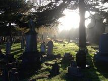 坟园在阳光下 库存照片