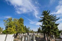坟墓和坟茔在正统cemetry泽蒙,在贝尔格莱德东北部 Gardos塔在背景中能被看见 库存图片