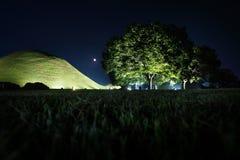 坟茔坟墓和树在一个公园在晚上在庆州,韩国,亚洲 图库摄影