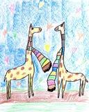 坠入爱河的长颈鹿。 免版税库存图片