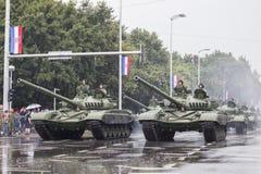 坦克和克罗地亚军队在萨格勒布的中心 库存图片