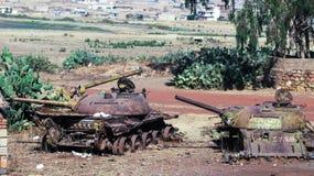 坦克和其他战争车公墓在阿斯马拉厄立特里亚, 免版税库存图片