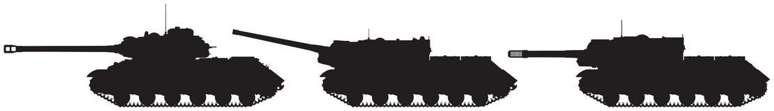 坦克和反坦克装甲车IS-2、IS-122和IS-152传染媒介剪影 向量例证
