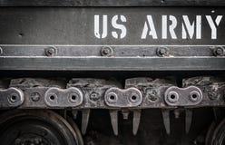 坦克特写镜头的边与文本美国军队的对此。 库存图片