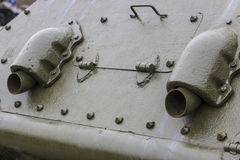 坦克的后方,排气管 图库摄影