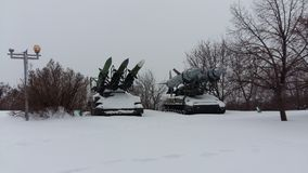 坦克,军用设备,在胜利公园 免版税库存图片