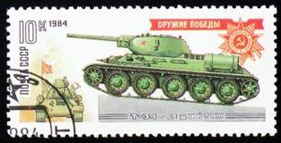 坦克T-34,大约1984年 图库摄影