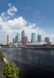 坦帕日间佛罗里达城市地平线  免版税库存照片