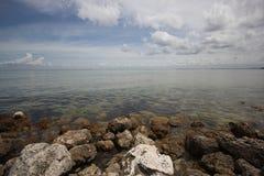 坦帕湾岩石海岸线  图库摄影