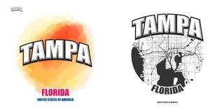 坦帕,佛罗里达,两件商标艺术品 免版税图库摄影