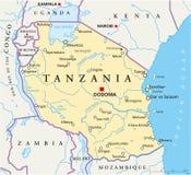 坦桑尼亚政治地图 免版税库存图片