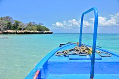 坦桑尼亚的单桅三角帆船 库存照片