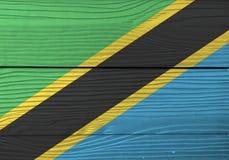 坦桑尼亚的旗子木板材背景的 难看的东西坦桑尼亚的旗子纹理 库存例证