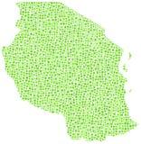 坦桑尼亚的绿色军用镶嵌地图 免版税库存图片