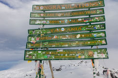 2014 02坦桑尼亚,非洲:在乞力马扎罗山的乌胡鲁高峰最高的山顶 库存图片