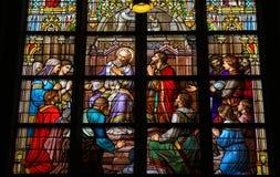 坦白的圣礼的彩色玻璃在登博斯Cathed 免版税库存照片