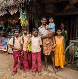 坦贾武尔,印度- 2月13 :未认出的小学生 免版税库存图片