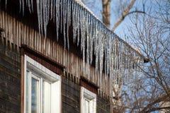 垂悬下来从屋顶的冰柱 库存照片