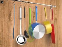 垂悬与厨房器物的厨房机架 向量例证