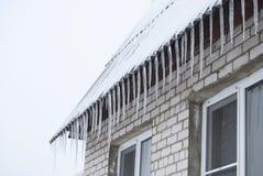 垂悬从一个村庄房子的屋顶的冰柱在冬天 库存照片