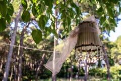 垂悬从与水晶石头的一棵树-淡色col的装饰品 库存照片