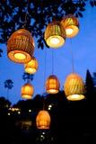 垂悬从树的传统巴厘语灯笼 免版税库存照片