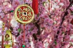 垂悬在一棵装饰的树的护身符 免版税库存图片