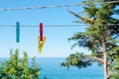 垂悬在一白色缆绳的色的晒衣夹有蓝色海和天空背景 免版税库存照片