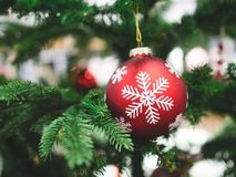 垂悬在与boke的圣诞树的雪花红色球的关闭 免版税库存照片