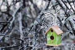 垂悬在冰川覆盖的树枝的鸟舍 免版税库存照片